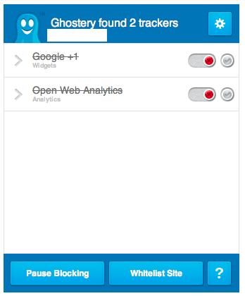 Das Ghostery Popover welches anzeigt, dass Google +1 und Open Web Analytics geblockt werden