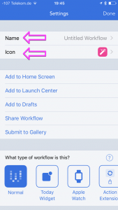 The settings of the workflow. Name and Icon are highlighted.