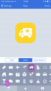 The icon settings with the glyphs tab open. In this tab the objects tab is opened and highlighted. A truck icon is also highlighted.