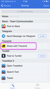 Sharing action list in workflow. The Share with Transmit item is highlighted.