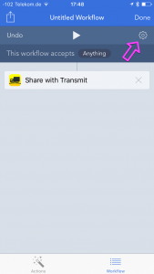 The sharing workflow. It accepts Anything as input. The gear icon is highlighted.