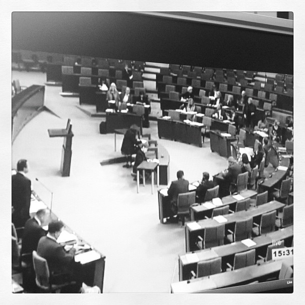 A black and white image of the german parliament