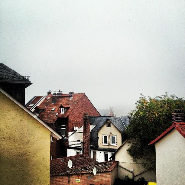 Buildings in Marburg and foggy sky
