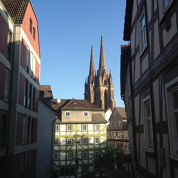 Buildings in Marburg with the church of elisabeth in the background